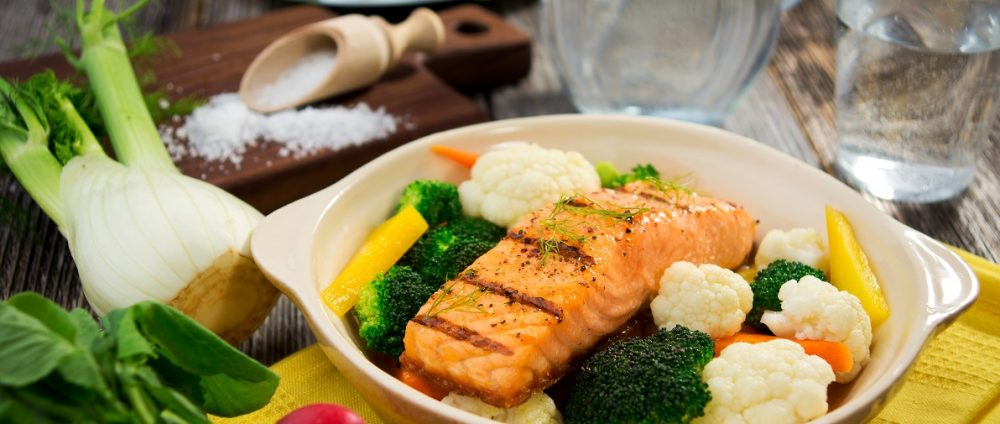 Salmon and broccoli and cauliflower The Tonic