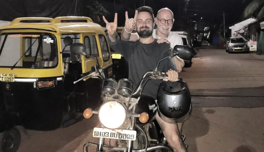 Will with nephew on motorbike in India